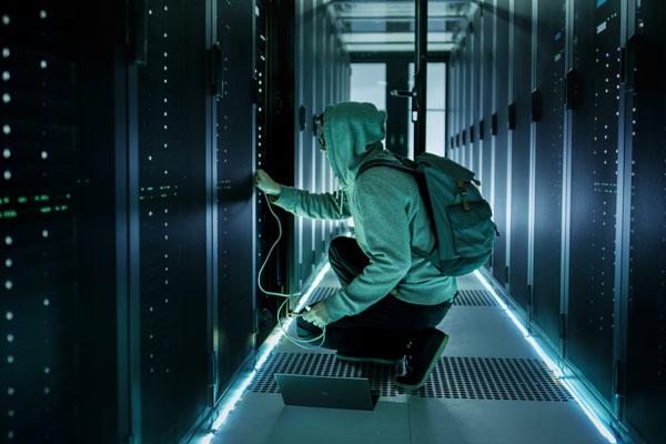Hacker at Data Center