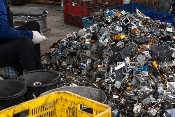e-waste being improperly recycled in a developing nation